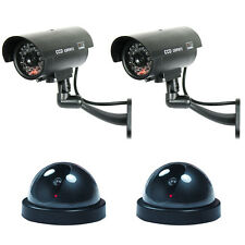 4 Pack Bullet & Dome Dummy Fake Surveillance Security Camera Combo - Black