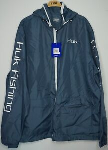 NWT HUK Men's 2XL Breaker Full Zip Fishing Jacket with Hood Blue with White Trim