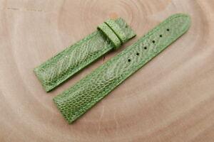 19mm/18mm Light Green Genuine Ostrich Skin Leather Watch Strap Band Handstitched