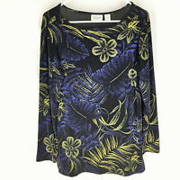 CHICO'S TRAVELERS Black Knit Top Size 1 Scoop Neck Womens Career Floral Stretch