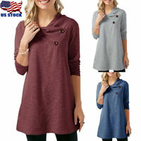 Womens Long Sleeve Button Tunic Tops Ladies Loose Pullover Jumper T Shirt Blouse