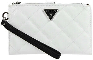 NEW GUESS Women's White Black Glossy Patent Quilted Double Zip Wristlet Wallet