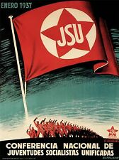 Propaganda di guerra civile spagnola JSU repubblicano socialista spagnolo VINTAGE 2805pylv