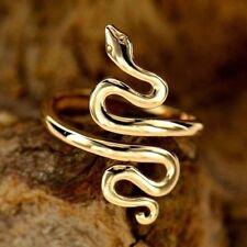 Natural Bronze Gold Slithering Python Snake Ring Women's size 6 7 8 adjustable