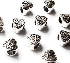 10 x Big Hole Love Heart Spacer Beads Charm European bracelet Bead 9mm, Hole 5mm