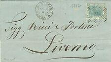 347-TOSCANA,PORTO SANTO STEFANO, NUMERALE A PUNTI+DOPPI CERCHIO PER LIVORNO,1868