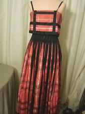 Vintage 40s 50s Dress  PINK PLAID SILK  2 piece Gown TLC Study XS