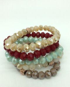 Free Shipping Fashion Women 10mm Glass Crystal Bracelets 5pcs/lot Gift set