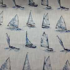 Clarke + Clarke YACHTS Linen Blend Fabric Curtains/ Roman Blinds/Cushions/Craft