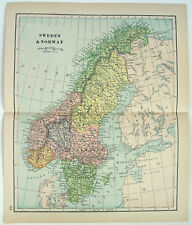 Original 1893 Map of Sweden & Norway by Dodd Mead & Company