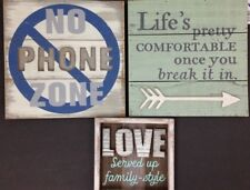 Hallmark Signs Wooden Love Life No Phone Lot of 3
