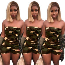 Fashion Women Strapless Camouflage Print Short Jumpsuit Pants Clubwear Casual