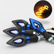 4x Motorcycle Hollow Blue Amber LED Turn Signal Lights Lamps Blinker Indicator