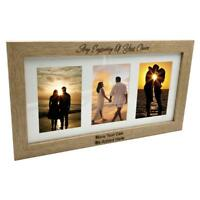 Personalised Wooden Triple Photo 6 x 4 Frame Custom Engraved Any Message