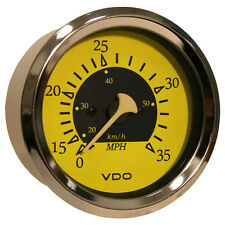 "VDO Allentare Yellow/Blue 35MPH 3-3/8"" (85mm) Pitot Speedometer"