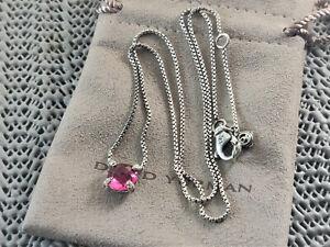 """david yurman silver 8mm Pink Tourmaline Chatelaine diamonds necklace 17-18"""" Long"""