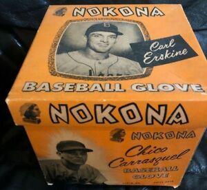 1955 Carl Erskine Chico Carrasquel Nokona Baseball Glove Picture Box Only + Ad