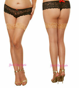 Plus Size BACK SEAM FISHNET THIGH HIGH Stockings STAY-UP Silicone Strips QUEEN