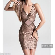 NWT bebe bronze copper sequin cutout mesh deep v neck sexy top dress XXS 00 0