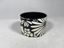 Vintage Fitz & Floyd Black And White Floral Flower Napkin Rings Set 6 Mcm Japan