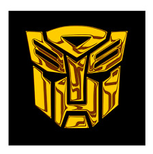 TRANSFORMERS AUTOBOT Chrom gold 2x Aufkleber Sticker Emblem 100x100mm