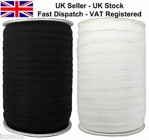 Black White Stretch Flat Elastic Waist Band Woven Sewing Trouser Dressmaking