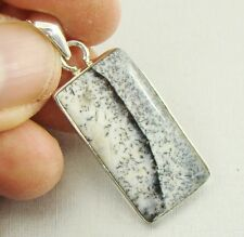 Semi-Precious DENDRITIC OPAL Gemstone 925 Sterling Silver Pendant - A57