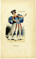 C. 1850, Antique wood engraving in contemp. coloring, Dancer from Tahiti.