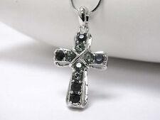 Cross Stone Black Cross Pendant Crystal Stud Necklace Silver Fashion Jewelry