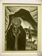 Lynd Ward 1930 MAN WOMAN  and DOGS on a MOUNTAIN Vintage Art Print Matted
