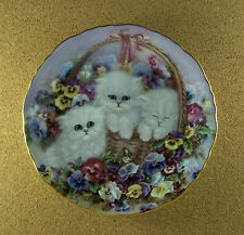 Garden Gifts BASKET OF LOVE Plate Lily Chang #1 White Kittens Cat Pansies Floral