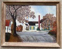 """Vintage American Original Folk Art Landscape Painting Farm Town MCM Cottage 24"""""""