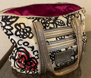 COACH Poppy Graffiti Glam Floral Black Red White Shoulder Bag Tote