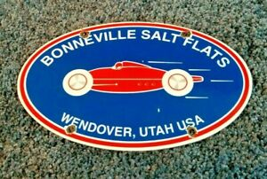 VINTAGE BONNEVILLE PORCELAIN METAL SALT FLATS LAND SPEED AD AUTOMOBILE SIGN