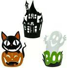 Set Of 3 vintage style Tin Halloween Votives haunted house, black cat, ghost