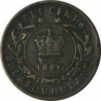 """1880 NEWFOUNDLAND LARGE CENT ROUND/LOW """"0"""" - NICE CIRC VARIETY COIN! -d768csx2"""