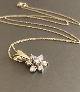 18ct Yellow Gold Diamond Necklace 0.75ct Flower Pendant & Chain Near 1ct