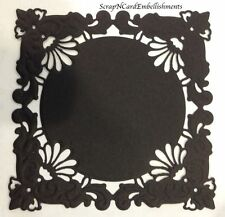 • • • Die Cuts ~ Embossed SQUARE Mats x4 ~ Black ~ Stampin Up C/S ~ Cards