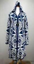 XS FOREVER 21 Sweater Coat Blue Ivory Southwestern Long Hooded Aztec