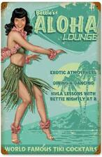 Bettie Page Pin Up Girl Aloha Lounge Metal Sign Man Cave Garage Shop Club RGG025
