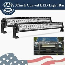 2x 32inch Curved LED Light Bar Combo Offroad Driving For Jeep 4X4 Truck 34/30''
