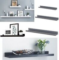 WOODEN FLOATING SHELF SHELVES KIT WALL MOUNTED DISPLAY UNIT HOME OFFICE BATHROOM