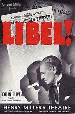 "Colin Clive ""LIBEL!"" Ernest Lawford / Otto Preminger 1935 Broadway Herald"