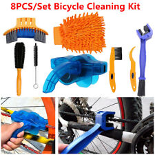 8PCS Bicycle Cleaning Kit Precise Clean Brush Tool Set+Bike Chain Scrubber Glove