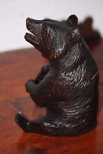 BLACK FOREST BEAR WOOD HAND CARVED TOBACCO JAR BOX WOODEN