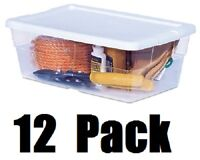 "(12) Sterilite 16428012 6 Qt 13-5/8""x8-1/4""x4-7/8 Clear Storage Box w White Lid"
