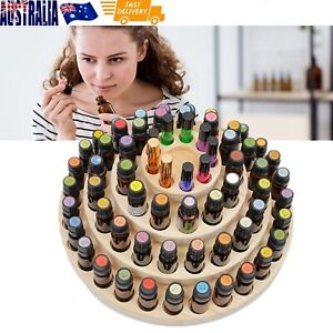 Essential Oil Rotating Wooden Box Round Rotating Display Rack 63-Holes Natural