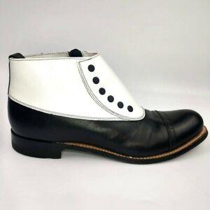 Stacy Adams Madison Spectator Cap Toe Black & White Kidskin Ankle Boot Size 9D