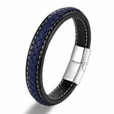 Braided Leather Bracelet Stainless Steel Magnetic Clasp Punk Men Jewelry Bangles
