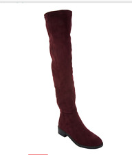 Franco Sarto Faux Suede Over-the-Knee Boots Bailey Dark Burgundy 6W Womens New